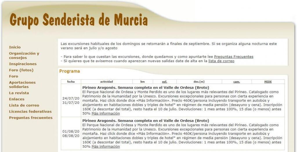 Grupo senderista de la comunidad de Murcia